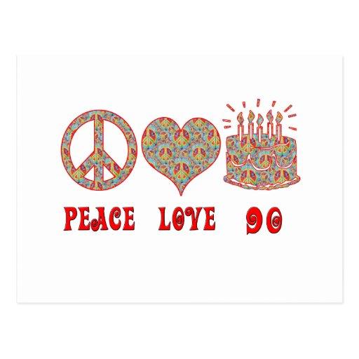 Peace Love 90 Post Card