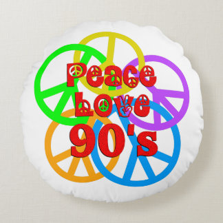 Peace Love 90s Round Pillow