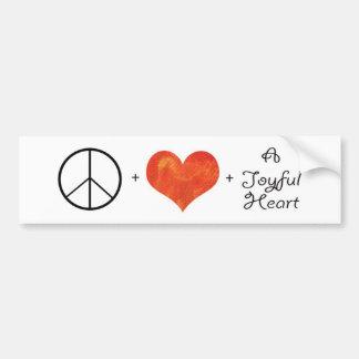 Peace, Love & a Joyful Heart Car Bumper Sticker
