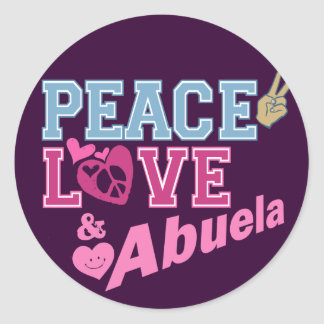 Peace Love Abuela Classic Round Sticker