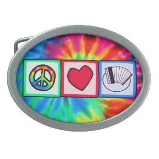 Peace, Love,  Accordions Oval Belt Buckle