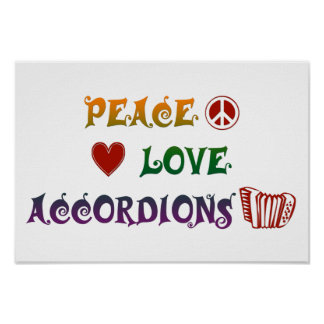 Peace Love Accordions rainbow squares Poster