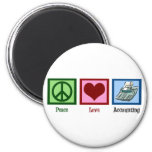 Peace Love Accounting 2 Inch Round Magnet