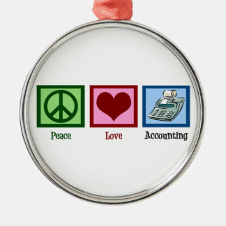Peace Love Accounting Christmas Ornament