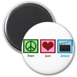 Peace Love Action! 2 Inch Round Magnet