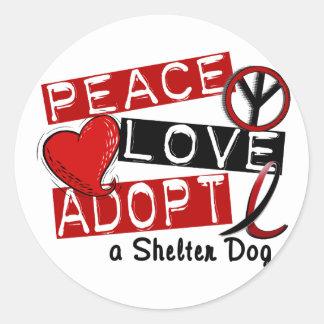 PEACE LOVE ADOPT A Shelter Dog Sticker