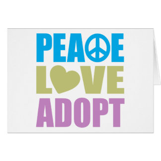 Peace Love Adopt Greeting Cards