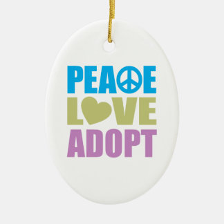 Peace Love Adopt Double-Sided Oval Ceramic Christmas Ornament