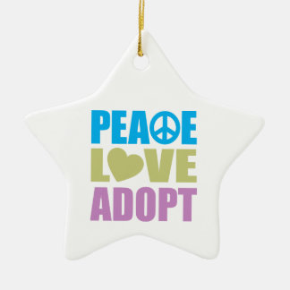 Peace Love Adopt Double-Sided Star Ceramic Christmas Ornament