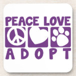 Peace Love Adopt Drink Coaster