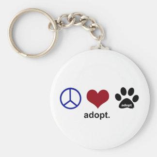 Peace, Love, Adopt Keychain