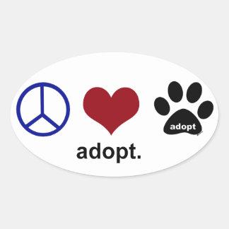 Peace, Love, Adopt Oval Sticker