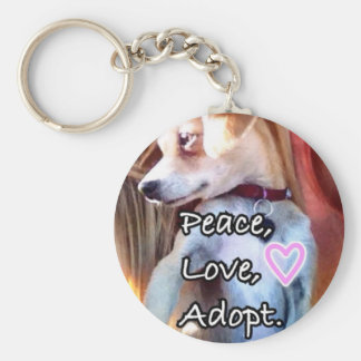 Peace, Love, Adopt Rescue Dog Keychain
