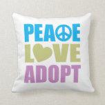 Peace Love Adopt Throw Pillow