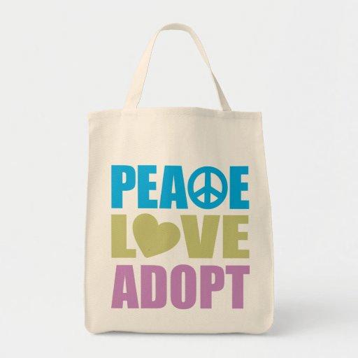 Peace Love Adopt Tote Bags