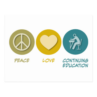 Peace Love Adult and Continuing Education Postcard