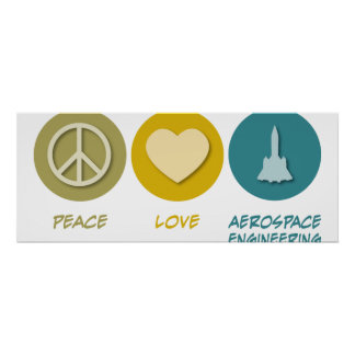 Peace Love Aerospace Engineering Poster