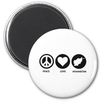 Peace Love Afghanistan 2 Inch Round Magnet