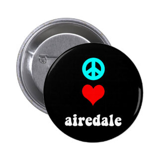 Peace love airedale 2 inch round button