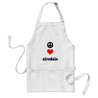 Peace love airedale adult apron