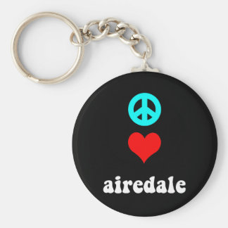 Peace love airedale basic round button keychain