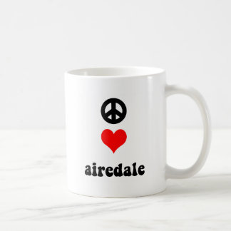Peace love airedale classic white coffee mug