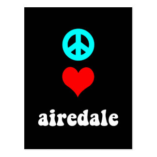 Peace love airedale postcard
