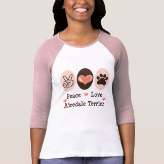 Peace Love Airedale Terrier Raglan Tee Shirt