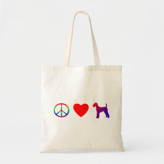 Peace Love Airedale Terriers Bag