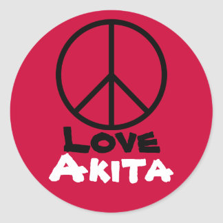 Peace Love Akita Red Stickers (Round)
