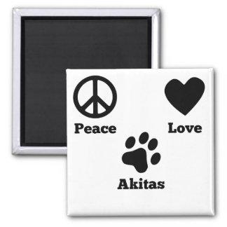 Peace Love Akitas 2 Inch Square Magnet
