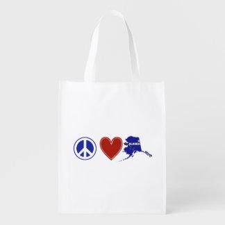 Peace Love Alaska Reusable Grocery Bag