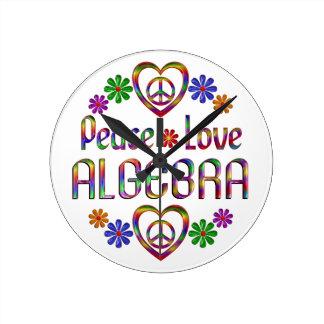 Peace Love Algebra Round Clocks