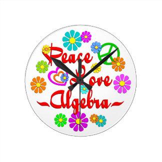 Peace Love Algebra Round Wall Clock