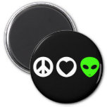 Peace Love Alien 2 Inch Round Magnet