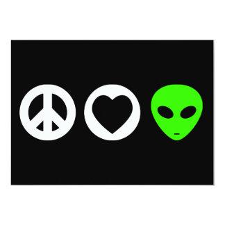 Peace Love Alien 5x7 Paper Invitation Card