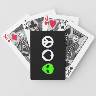 Peace Love Alien Bicycle Playing Cards