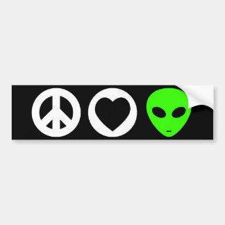 Peace Love Alien Bumper Sticker