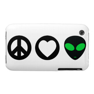 Peace Love Alien iPhone 3 Cases
