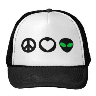 Peace Love Alien Trucker Hat