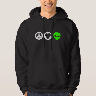 Peace Love Alien Hooded Pullover