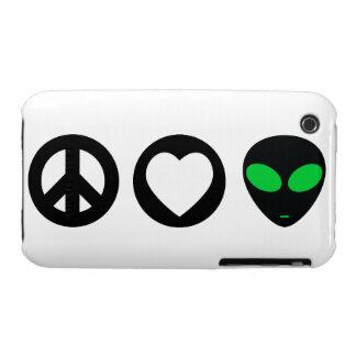 Peace Love Alien iPhone 3 Case-Mate Cases