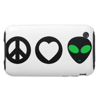 Peace Love Alien Tough iPhone 3 Case