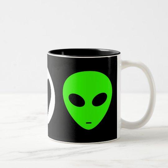 Peace Love Alien Two-Tone Coffee Mug