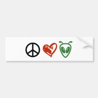 Peace Love Aliens Bumper Stickers