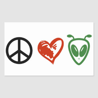 Peace Love Aliens Rectangular Sticker
