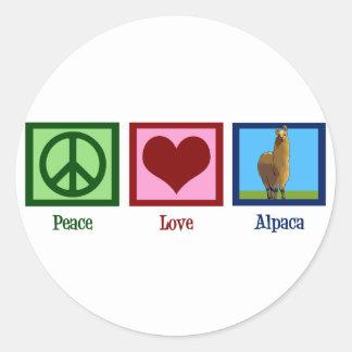 Peace Love Alpaca Classic Round Sticker
