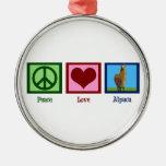 Peace Love Alpaca Round Metal Christmas Ornament