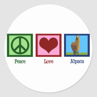 Peace Love Alpaca Round Sticker