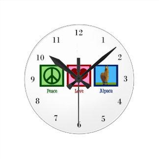 Peace Love Alpacas Round Clock